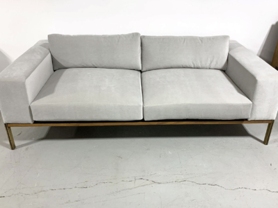Wood Base Sofa with Brass Legs